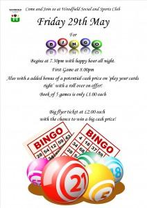 Bingo Woodfield Wolverhampton 29th May