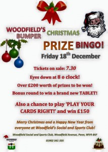 Xmas Prize Bingo at Woodfield